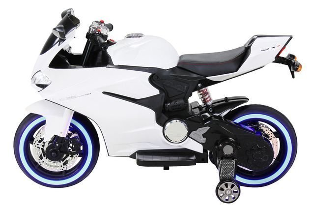 Электромотоцикл Ducati белый (колеса резина, сиденье кожа, музыка, страховочные колеса)