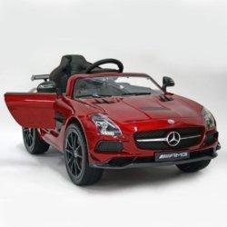 Электромобиль Mercedes-Benz SLS AMG красный (колеса резина, кресло кожа, пульт, музыка, электроусилитель)