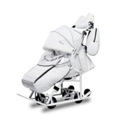 Санки-коляски Pikate Арктик белый (мембранная ткань, овчина, 3 положения спинки, краска рамы белый)